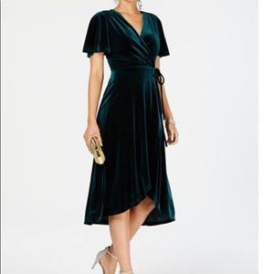 Vince Camuto Flutter Sleeve Velvet Wrap Dress